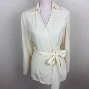 Soft Surroundings Ivory Silk Wrap Blouse Size M